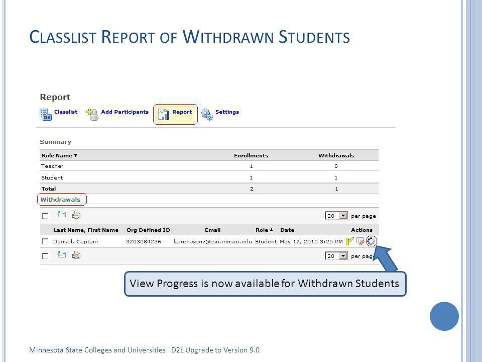 C LASSLIST R EPORT OF W ITHDRAWN S TUDENTS View Progress is now available for Withdrawn Students Minnesota State Colleges and Universities D2L Upgrade