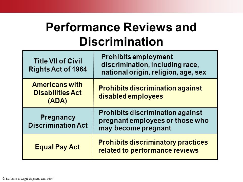 © Business & Legal Reports, Inc. 0807 Prohibits discriminatory practices related to performance reviews Equal Pay Act Prohibits discrimination against