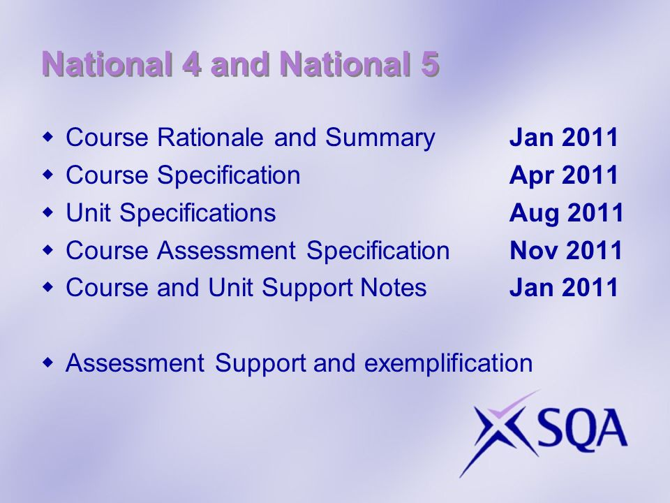 National 4 and National 5 Course Rationale and SummaryJan 2011 Course SpecificationApr 2011 Unit SpecificationsAug 2011 Course Assessment SpecificationNov 2011 Course and Unit Support NotesJan 2011 Assessment Support and exemplification