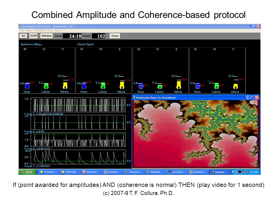 (c) 2007-9 T. F. Collura, Ph.D. Combined Amplitude and Coherence-based protocol If (point awarded for amplitudes) AND (coherence is normal) THEN (play