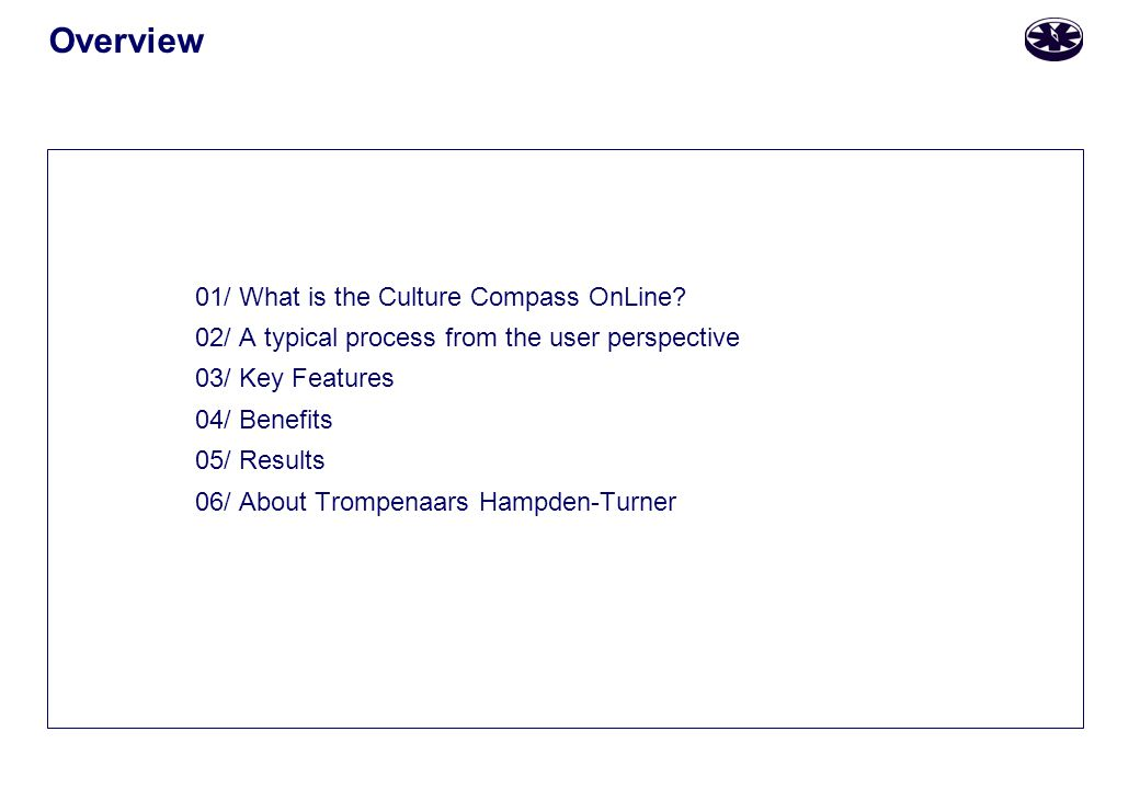 Overview 01/ What is the Culture Compass OnLine.
