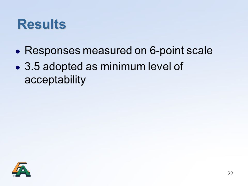 22 Results Responses measured on 6-point scale 3.5 adopted as minimum level of acceptability