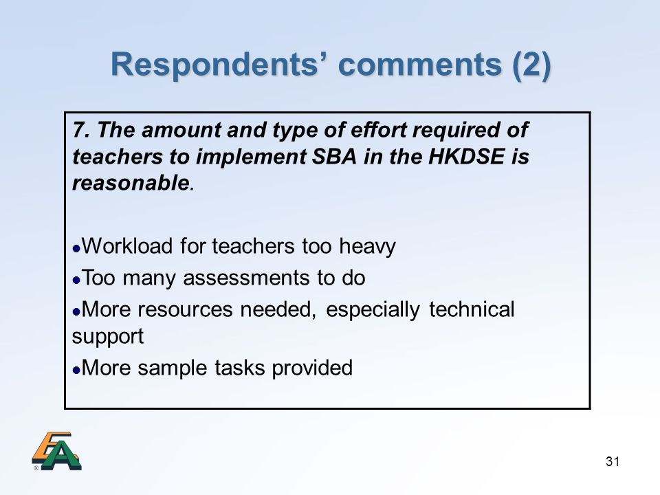 31 Respondents comments (2) 7. The amount and type of effort required of teachers to implement SBA in the HKDSE is reasonable. Workload for teachers t