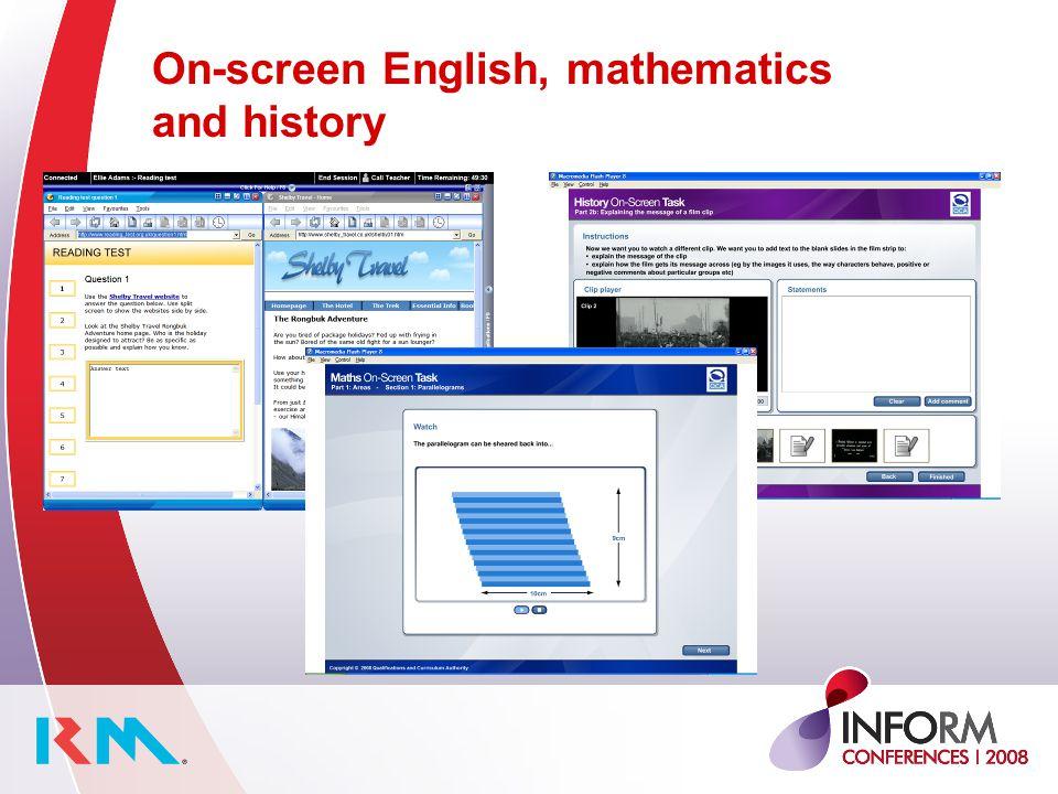 On-screen English, mathematics and history