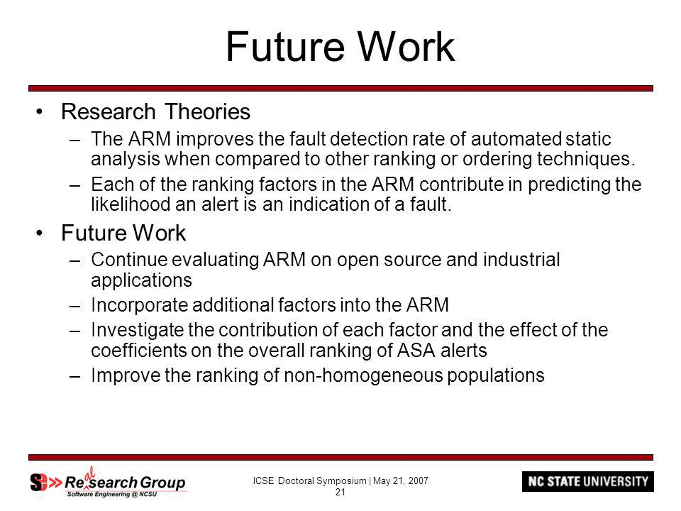 ICSE Doctoral Symposium | May 21, 2007 21 Future Work Research Theories –The ARM improves the fault detection rate of automated static analysis when compared to other ranking or ordering techniques.