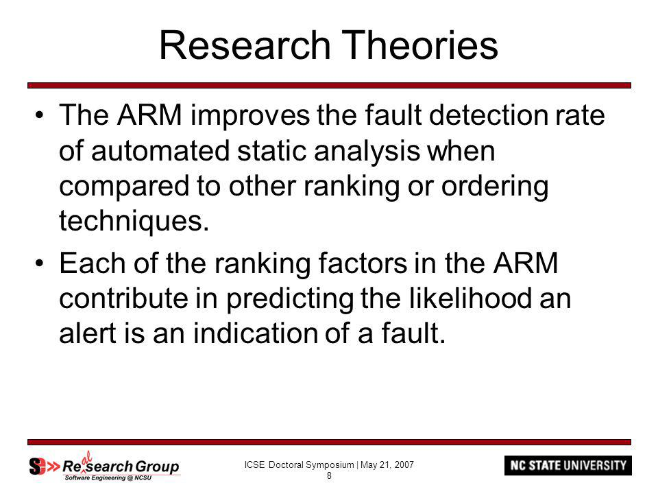 ICSE Doctoral Symposium | May 21, 2007 8 Research Theories The ARM improves the fault detection rate of automated static analysis when compared to other ranking or ordering techniques.