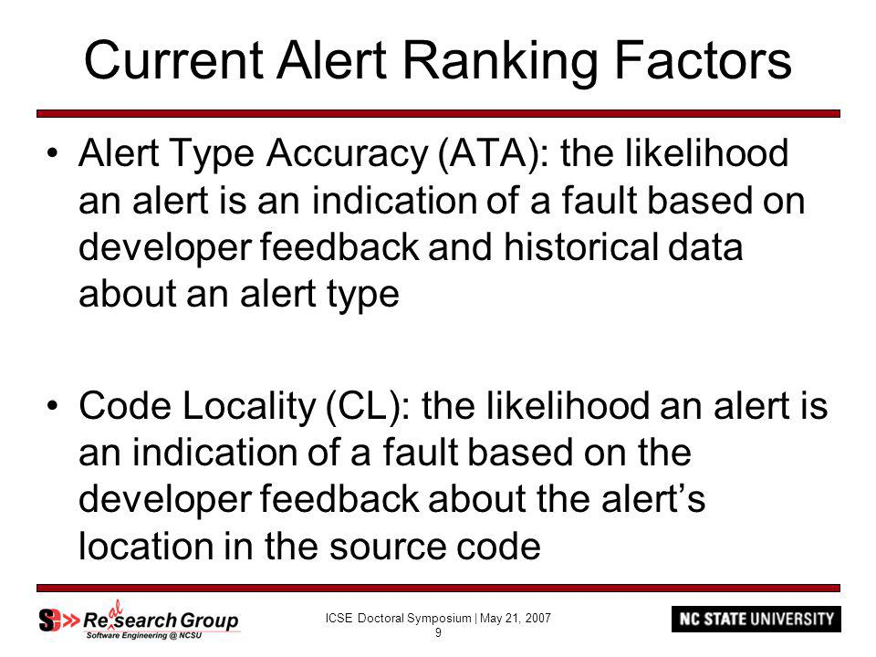 ICSE Doctoral Symposium | May 21, 2007 9 Current Alert Ranking Factors Alert Type Accuracy (ATA): the likelihood an alert is an indication of a fault based on developer feedback and historical data about an alert type Code Locality (CL): the likelihood an alert is an indication of a fault based on the developer feedback about the alerts location in the source code