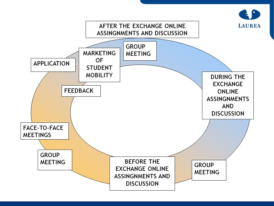 APPLICATION MARKETING OF STUDENT MOBILITY GROUP MEETING FACE-TO-FACE MEETINGS BEFORE THE EXCHANGE ONLINE ASSINGNMENTS AND DISCUSSION GROUP MEETING FEE