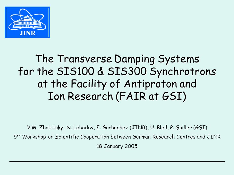 The Transverse Damping Systems for the SIS100 & SIS300 Synchrotrons at the Facility of Antiproton and Ion Research (FAIR at GSI) V.M.