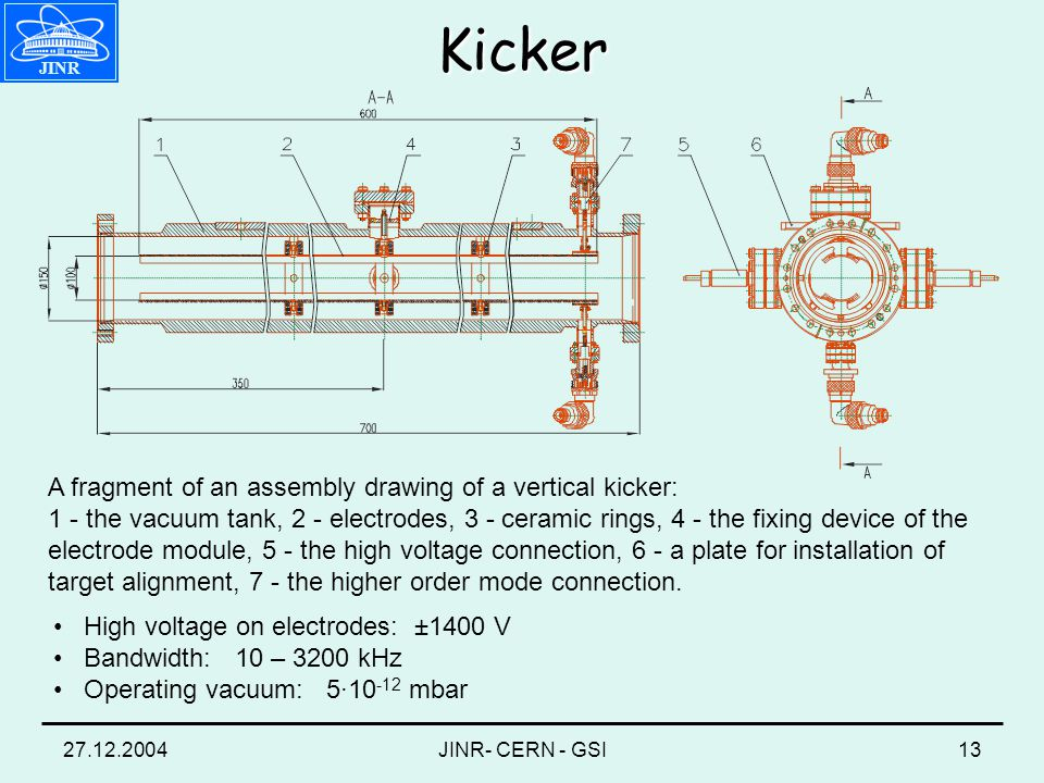 27.12.2004JINR- CERN - GSI13 A fragment of an assembly drawing of a vertical kicker: 1 - the vacuum tank, 2 - electrodes, 3 - ceramic rings, 4 - the fixing device of the electrode module, 5 - the high voltage connection, 6 - a plate for installation of target alignment, 7 - the higher order mode connection.