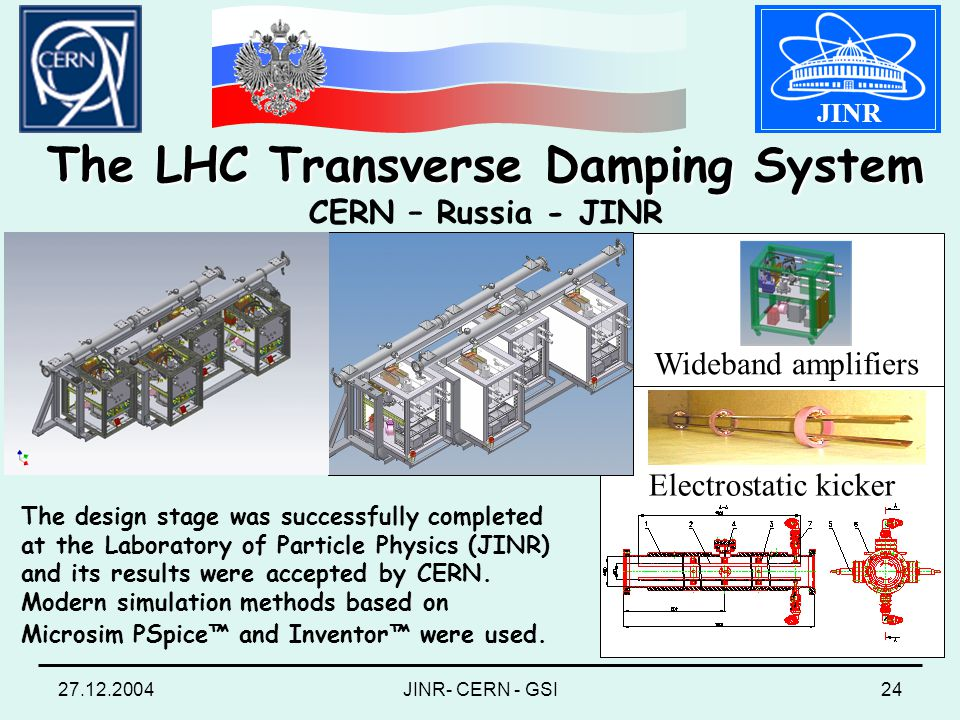 27.12.2004JINR- CERN - GSI24 JINR The LHC Transverse Damping System The LHC Transverse Damping System CERN – Russia - JINR Electrostatic kicker The design stage was successfully completed at the Laboratory of Particle Physics (JINR) and its results were accepted by CERN.