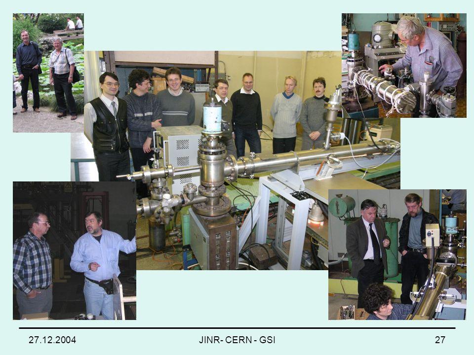27.12.2004JINR- CERN - GSI27