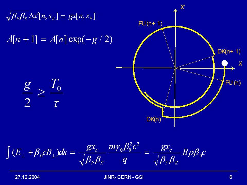 27.12.2004JINR- CERN - GSI6