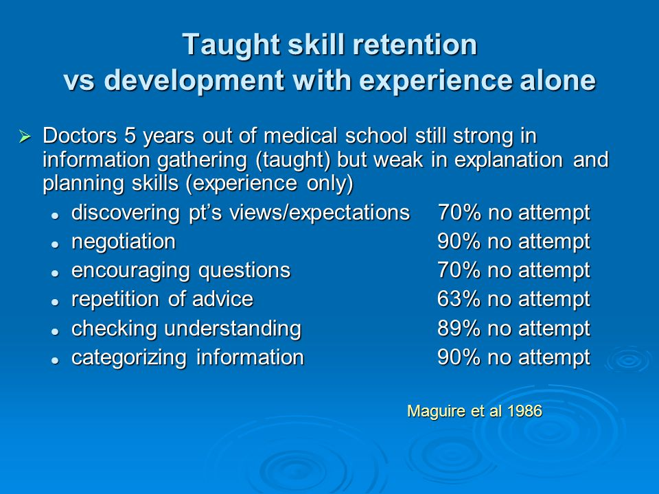 Taught skill retention vs development with experience alone Doctors 5 years out of medical school still strong in information gathering (taught) but w