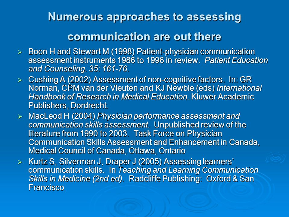 Numerous approaches to assessing communication are out there Boon H and Stewart M (1998) Patient-physician communication assessment instruments 1986 t
