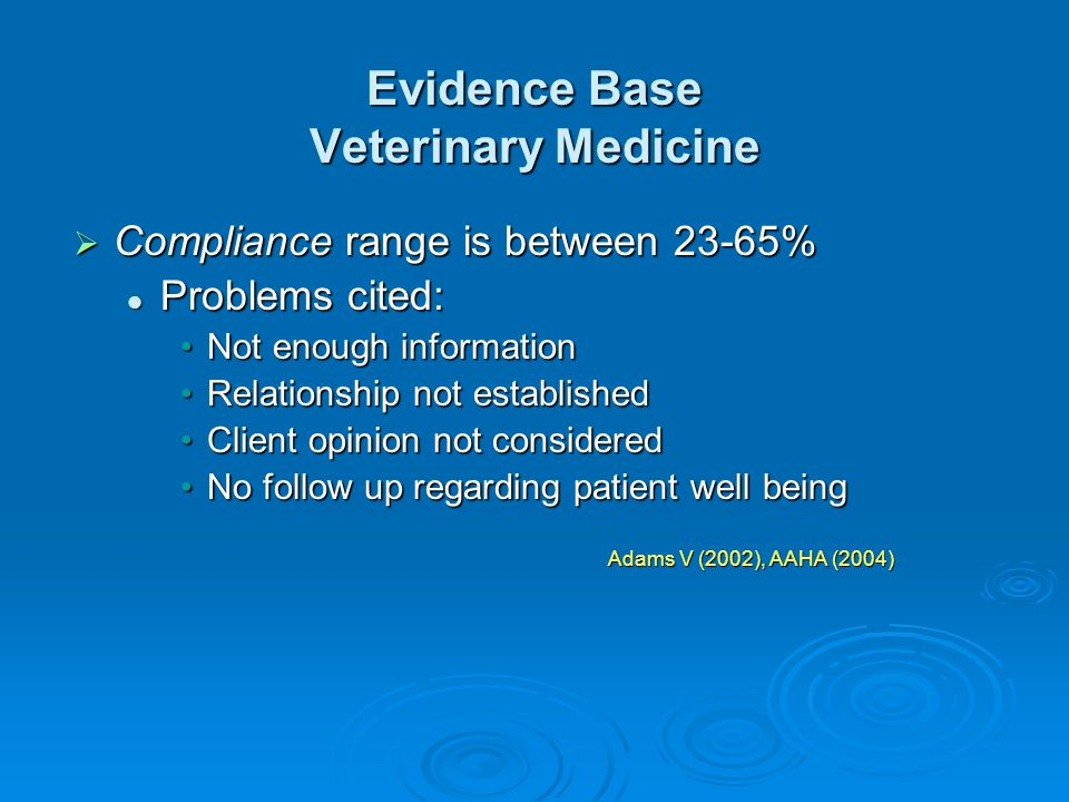 Evidence Base Veterinary Medicine Compliance range is between 23-65% Compliance range is between 23-65% Problems cited: Problems cited: Not enough inf