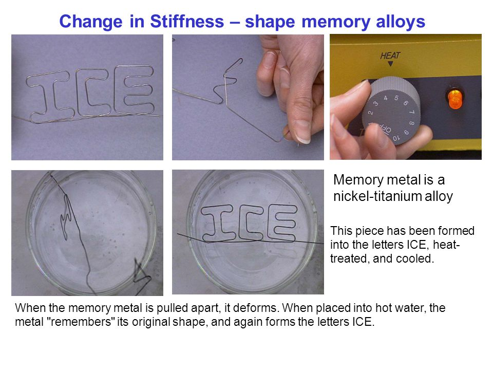 Change in Stiffness – shape memory alloys When the memory metal is pulled apart, it deforms. When placed into hot water, the metal