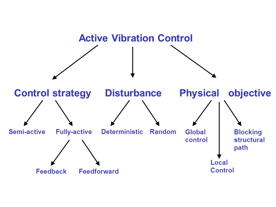 Active Vibration Control Control strategy Disturbance Physical objective Deterministic Random Global control Blocking structural path Local Control Fe