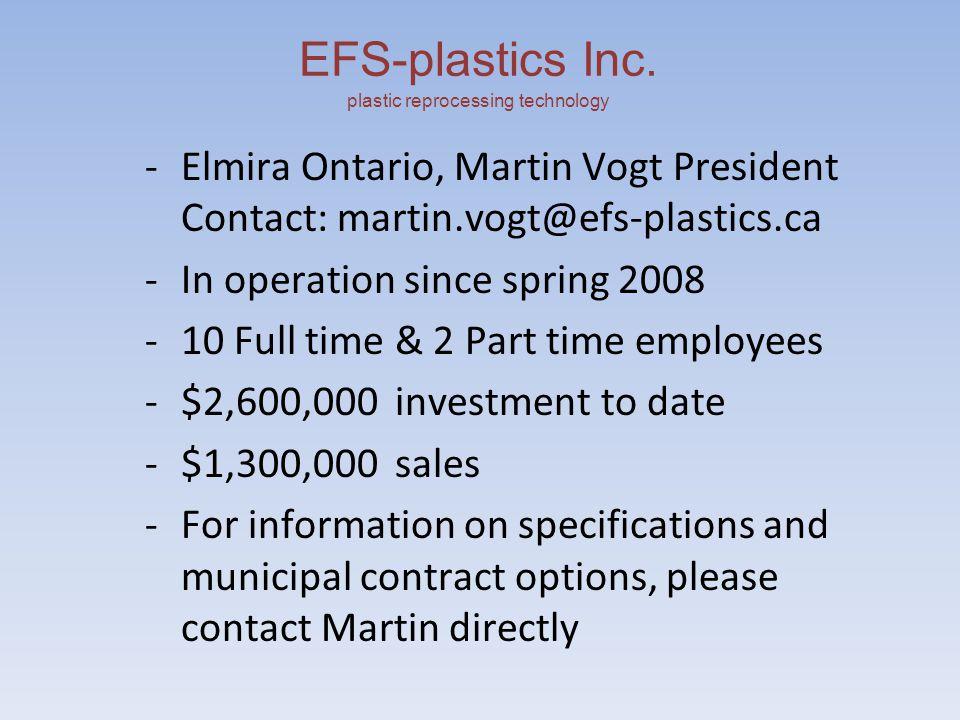 EFS-plastics Inc.plastic reprocessing technology Current Capacity -Mixed Plastics approx.