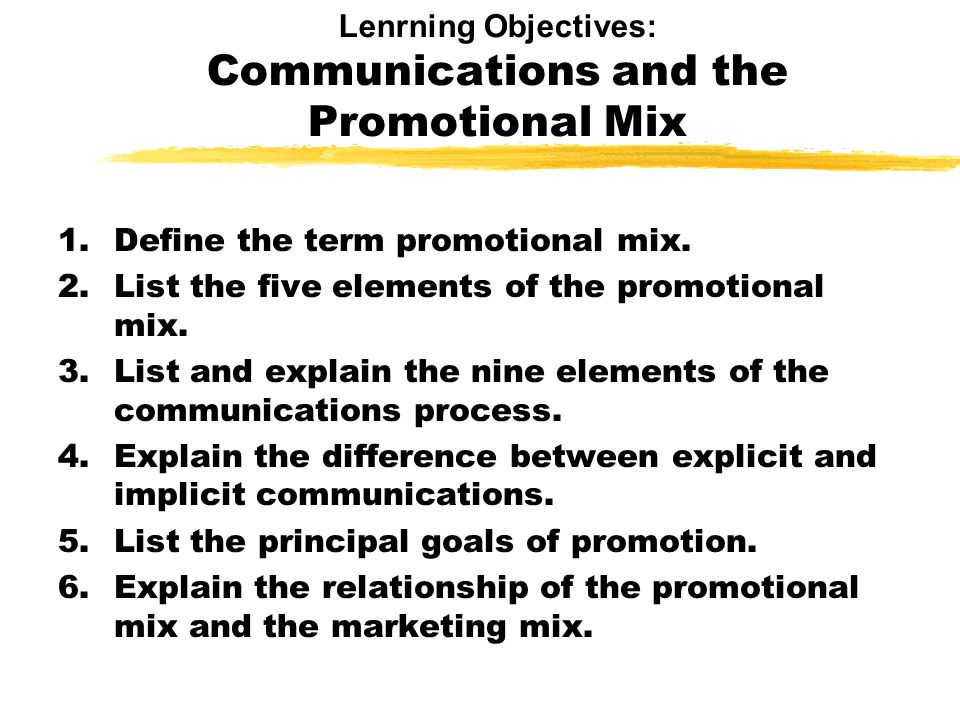 Lenrning Objectives: Communications and the Promotional Mix 1.Define the term promotional mix.