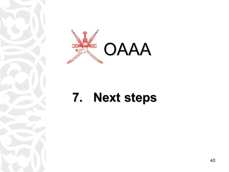 40 7.Next steps OAAA