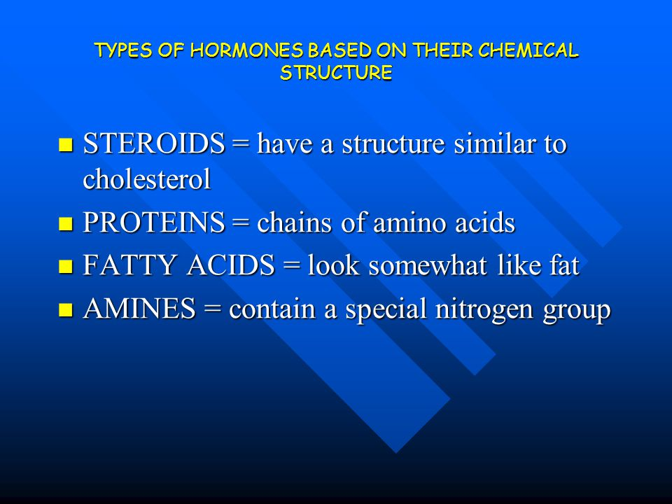 TYPES OF HORMONES BASED ON THEIR CHEMICAL STRUCTURE STEROIDS = have a structure similar to cholesterol STEROIDS = have a structure similar to choleste