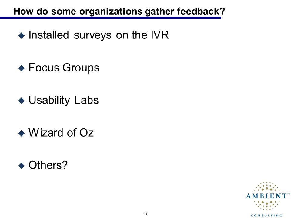 13 How do some organizations gather feedback.