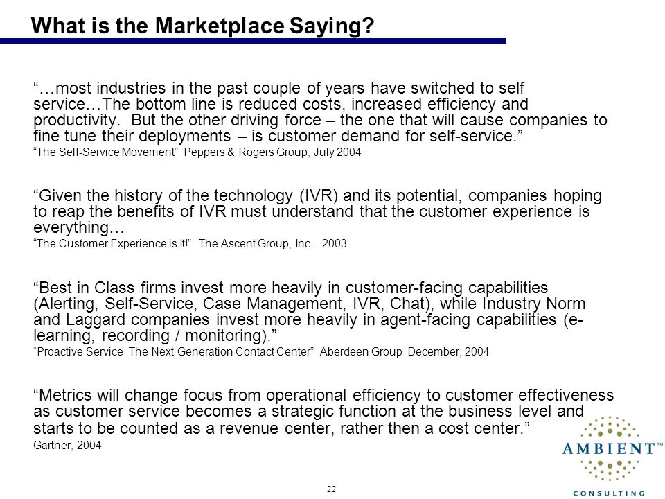 22 What is the Marketplace Saying.