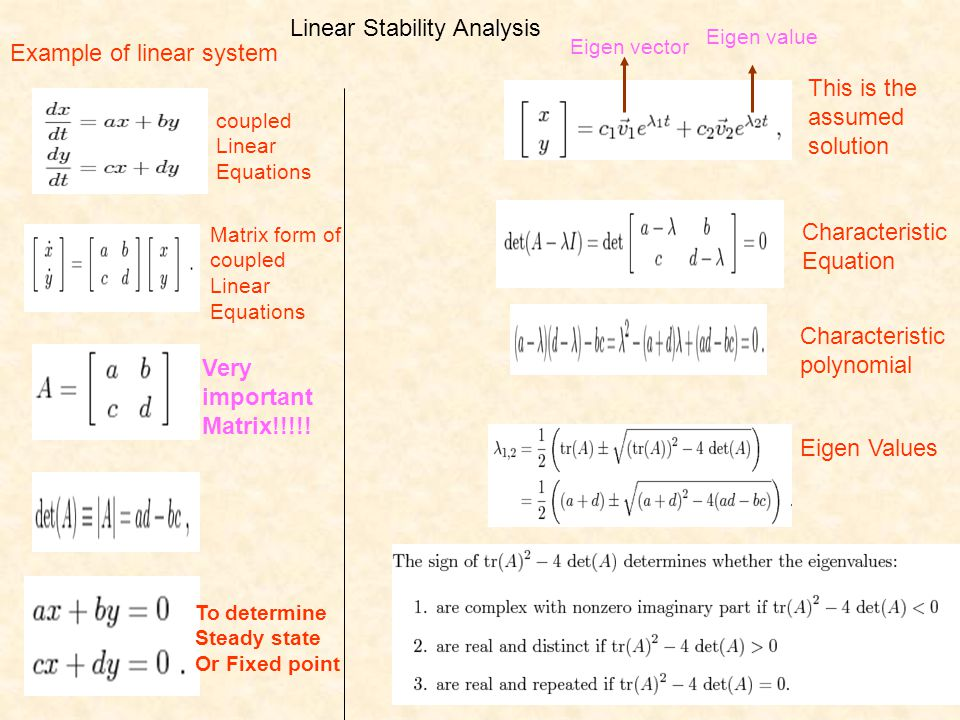 Linear Stability Analysis coupled Linear Equations Matrix form of coupled Linear Equations To determine Steady state Or Fixed point This is the assume