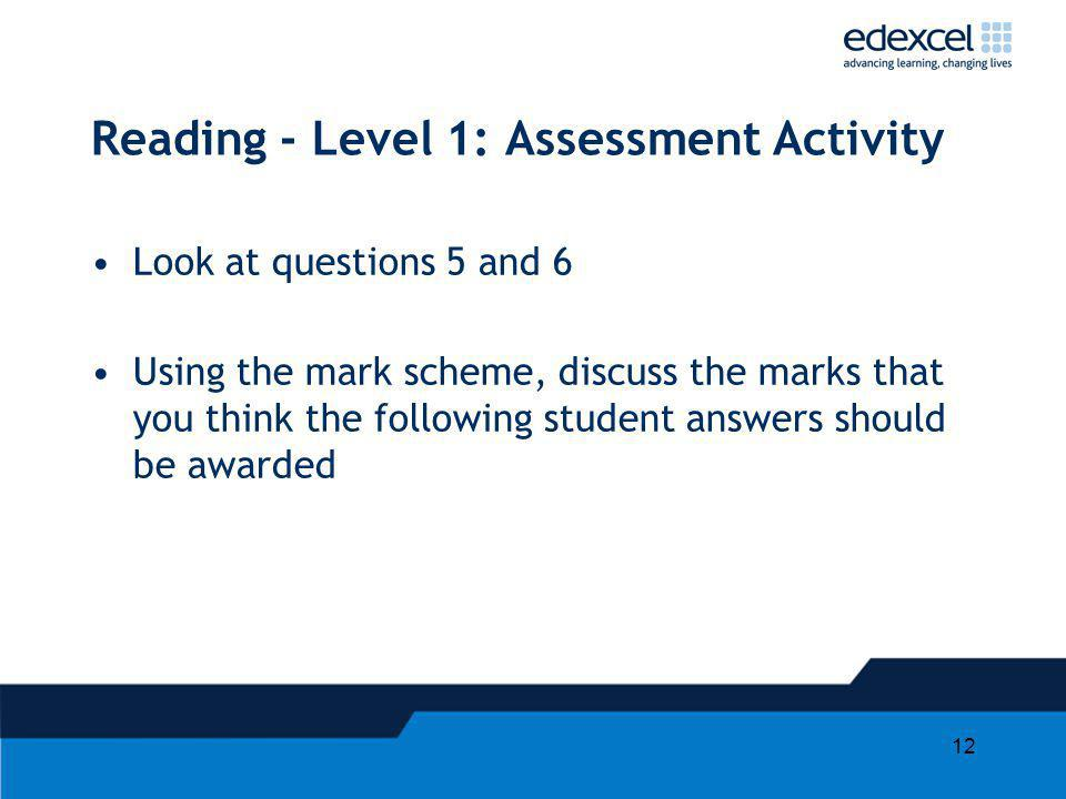 12 Reading - Level 1: Assessment Activity Look at questions 5 and 6 Using the mark scheme, discuss the marks that you think the following student answ