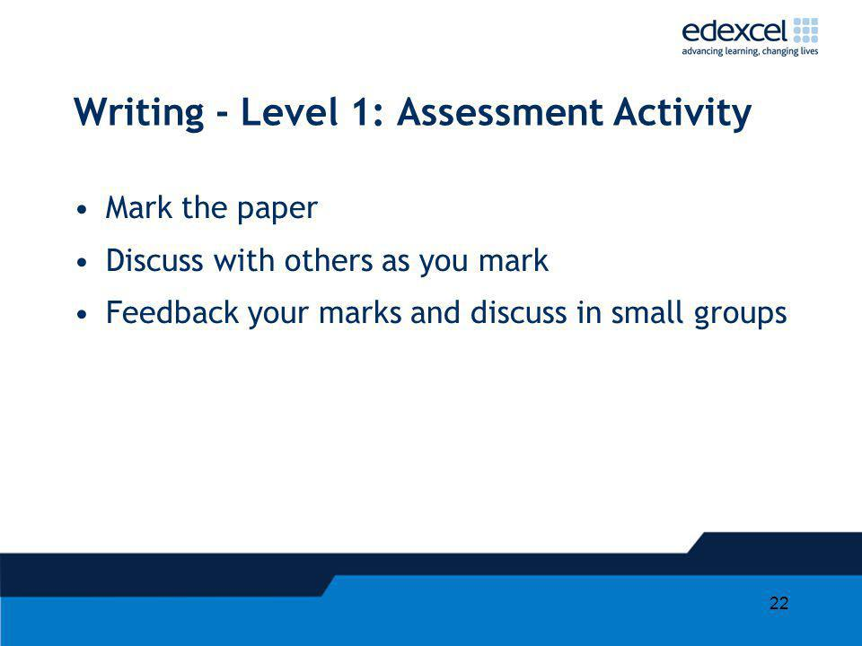 22 Writing - Level 1: Assessment Activity Mark the paper Discuss with others as you mark Feedback your marks and discuss in small groups