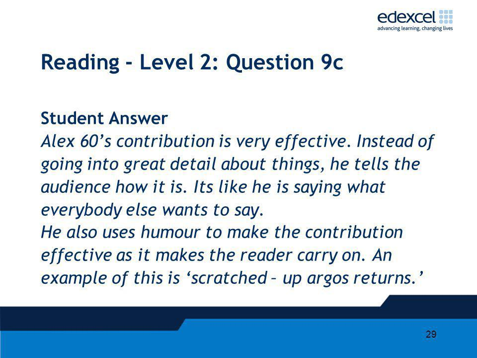 29 Reading - Level 2: Question 9c Student Answer Alex 60s contribution is very effective. Instead of going into great detail about things, he tells th