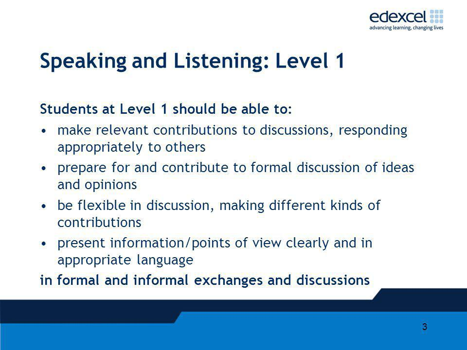 3 Speaking and Listening: Level 1 Students at Level 1 should be able to: make relevant contributions to discussions, responding appropriately to other