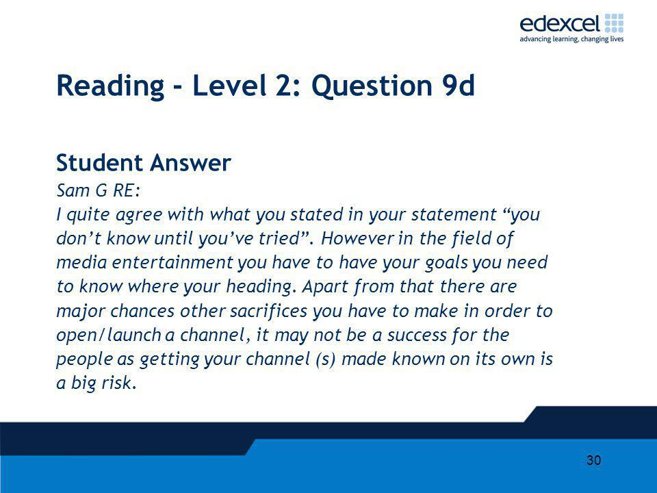 30 Reading - Level 2: Question 9d Student Answer Sam G RE: I quite agree with what you stated in your statement you dont know until youve tried. Howev