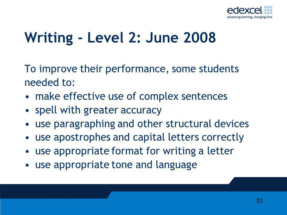 33 Writing - Level 2: June 2008 To improve their performance, some students needed to: make effective use of complex sentences spell with greater accu