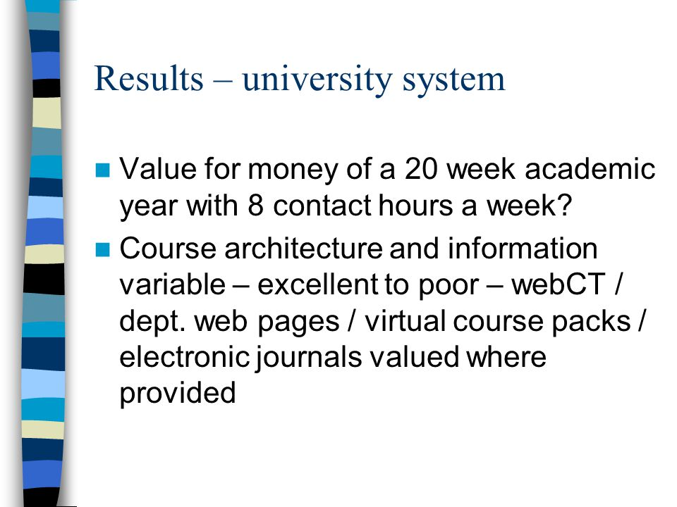 Results – university system Value for money of a 20 week academic year with 8 contact hours a week? Course architecture and information variable – exc
