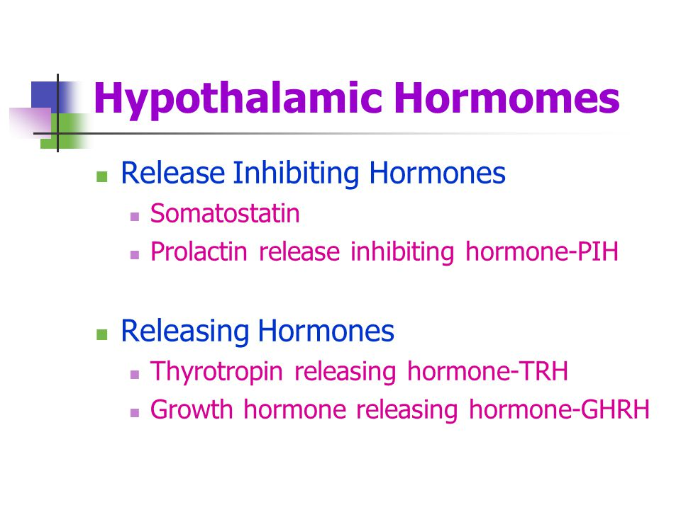 Hypothalamic Hormomes Release Inhibiting Hormones Somatostatin Prolactin release inhibiting hormone-PIH Releasing Hormones Thyrotropin releasing hormo