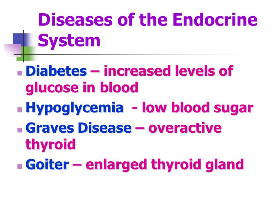 Diseases of the Endocrine System Diabetes – increased levels of glucose in blood Diabetes – increased levels of glucose in blood Hypoglycemia - low bl