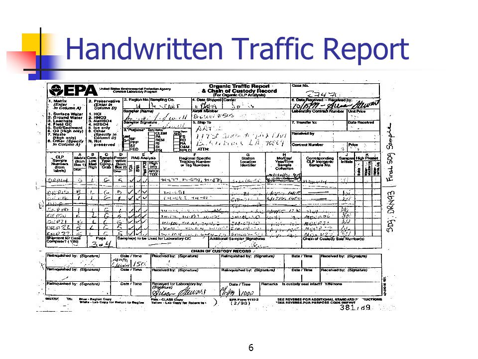 6 Handwritten Traffic Report