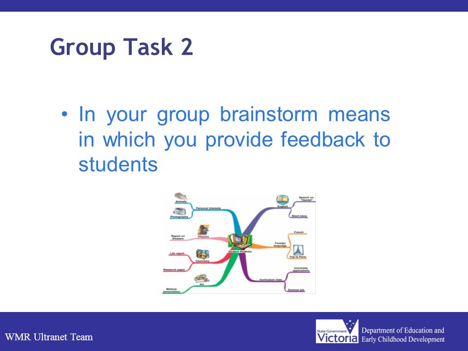 WMR Ultranet Team Group Task 2 In your group brainstorm means in which you provide feedback to students