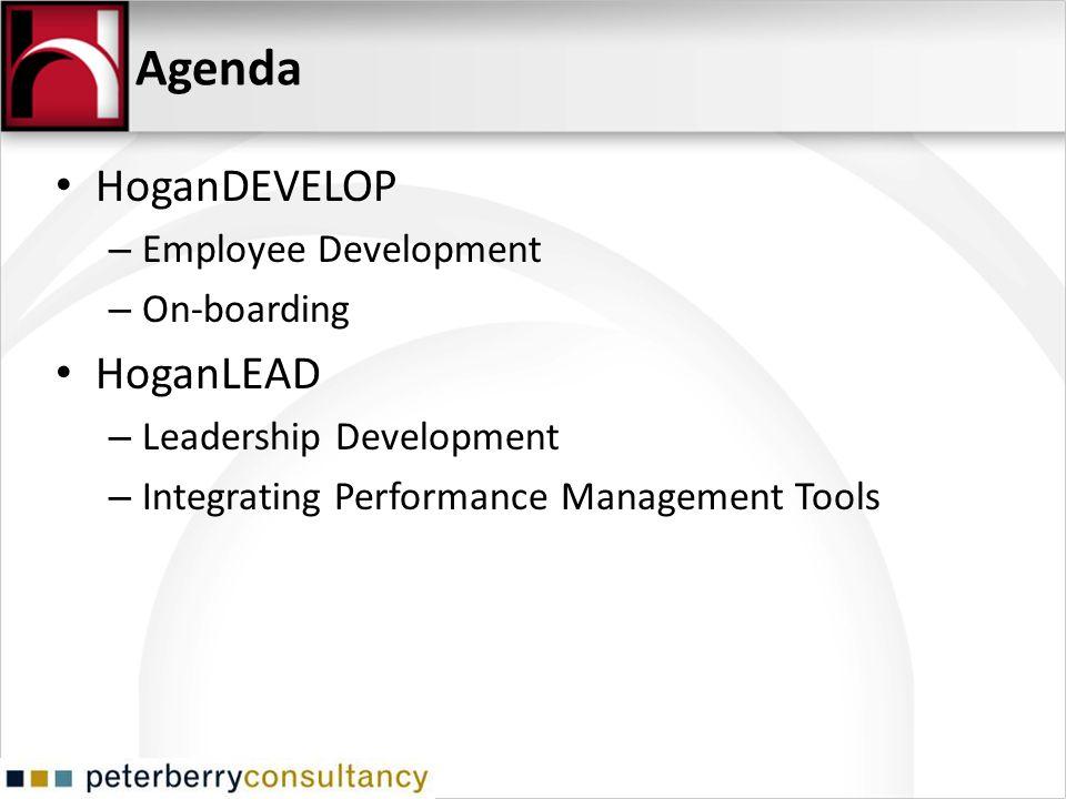 Agenda HoganDEVELOP – Employee Development – On-boarding HoganLEAD – Leadership Development – Integrating Performance Management Tools
