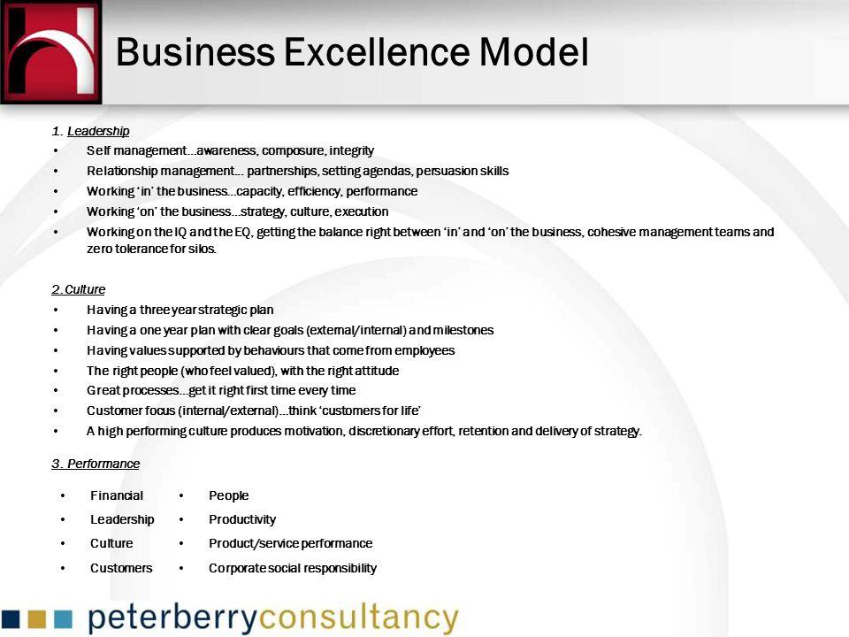 Business Excellence Model 1. Leadership Self management…awareness, composure, integrity Relationship management... partnerships, setting agendas, pers