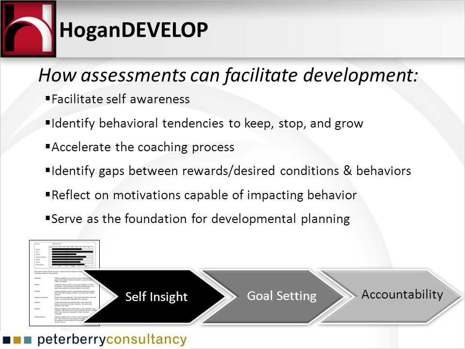 HoganDEVELOP How assessments can facilitate development: Self Insight Goal Setting Accountability Facilitate self awareness Identify behavioral tenden