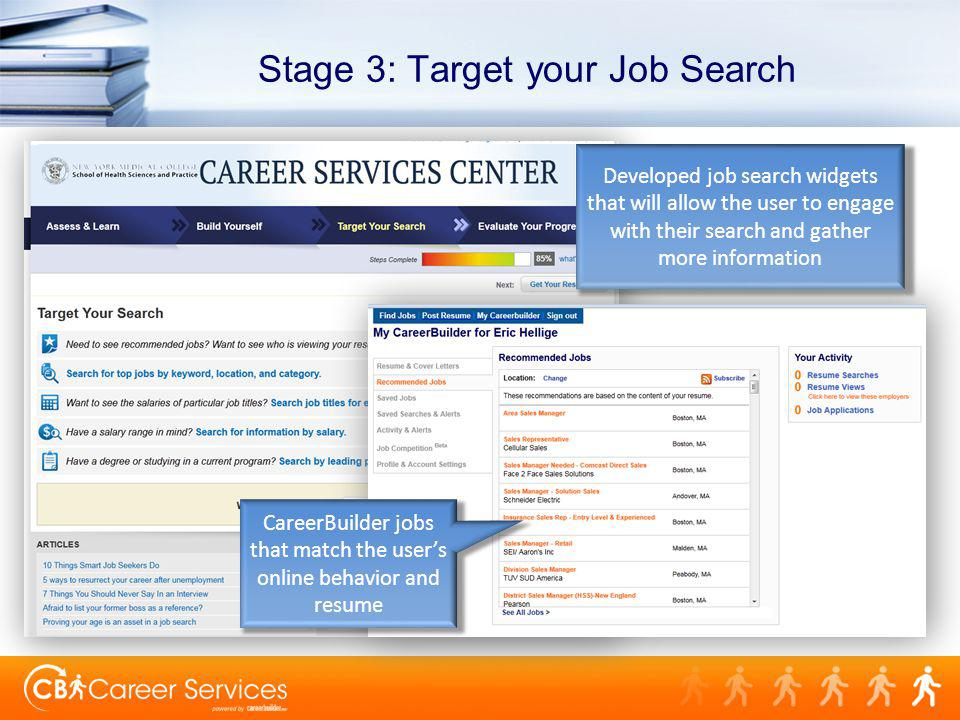 Stage 3: Target your Job Search Developed job search widgets that will allow the user to engage with their search and gather more information CareerBuilder jobs that match the users online behavior and resume