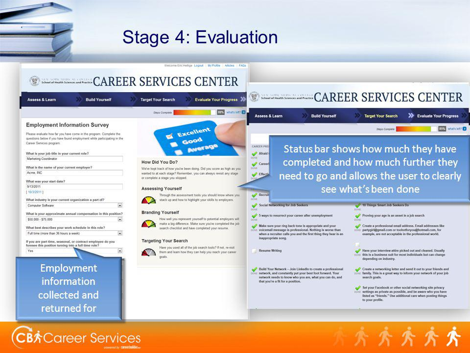 Stage 4: Evaluation Employment information collected and returned for Status bar shows how much they have completed and how much further they need to