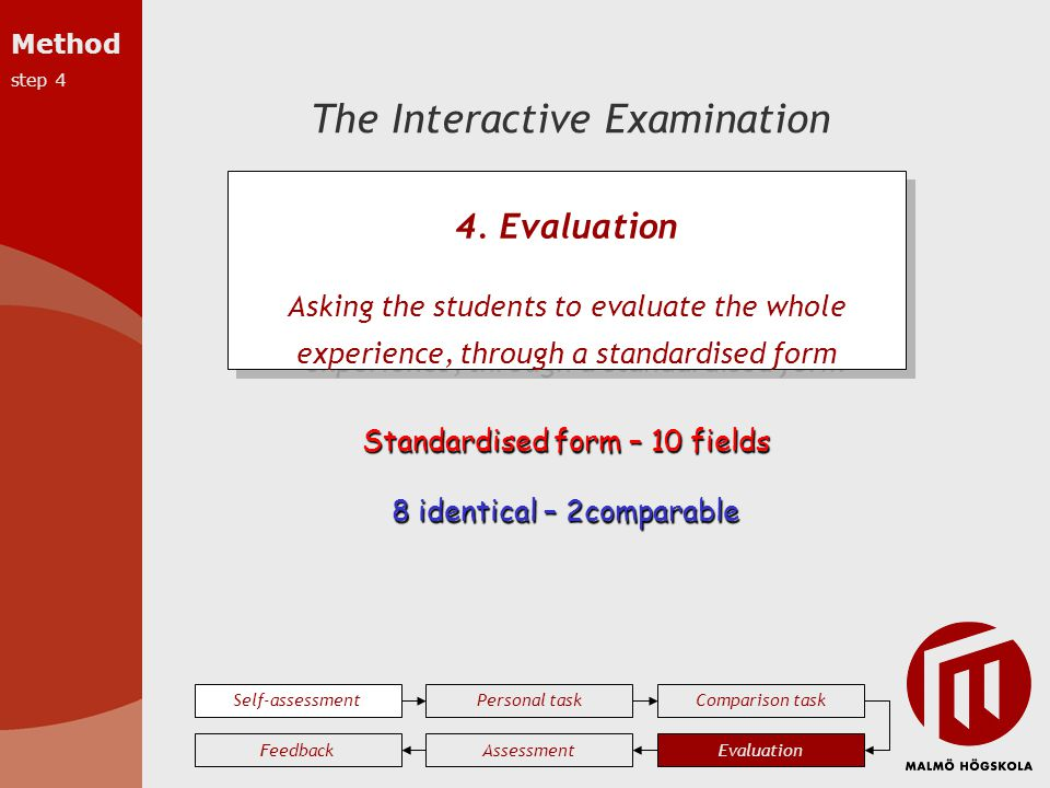The Interactive Examination Self-assessmentPersonal taskComparison task EvaluationAssessmentFeedback 4. Evaluation Asking the students to evaluate the