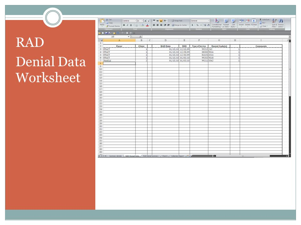 RAD Denial Data Worksheet