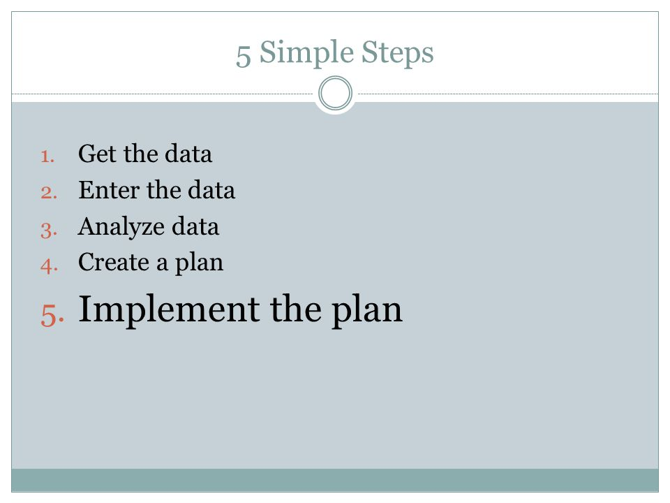 5 Simple Steps 1. Get the data 2. Enter the data 3.