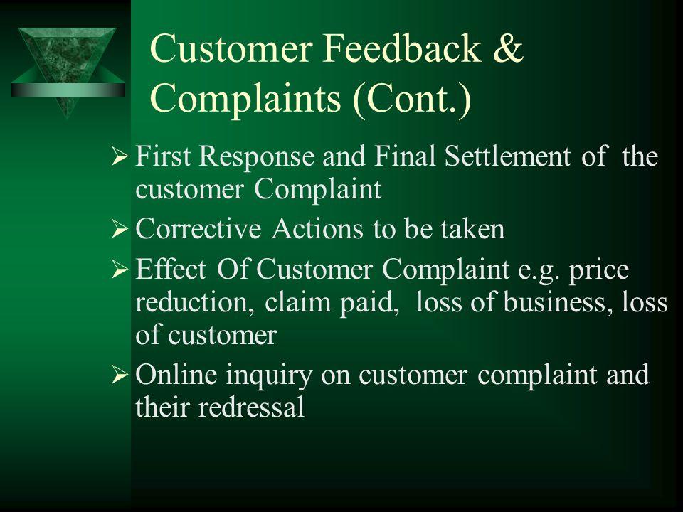 Customer Feedback & Complaints Customer Feedback Category Customer Feedback Subcategory Customer Feedback Group Customer Feedback Statistics Customer