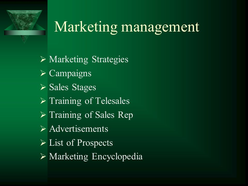 Marketing management Marketing Strategies Campaigns Sales Stages Training of Telesales Training of Sales Rep Advertisements List of Prospects Marketing Encyclopedia
